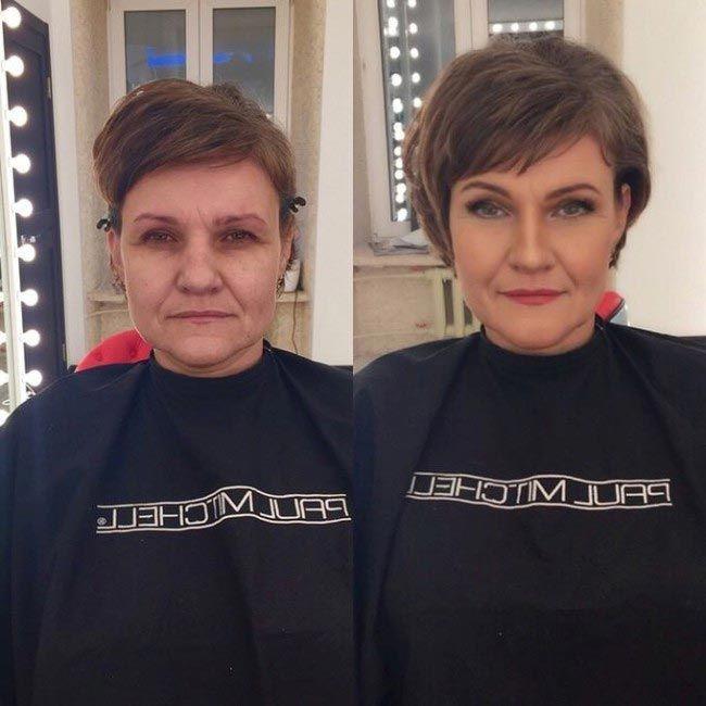Pred a po make-up, maskérka Ravil Agmalov dievčatá s make-up a bez