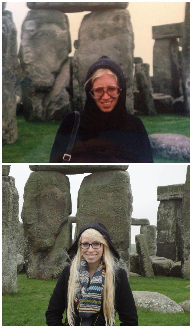 Mom at age 26 and daughter at age 23 visiting Stonehenge.