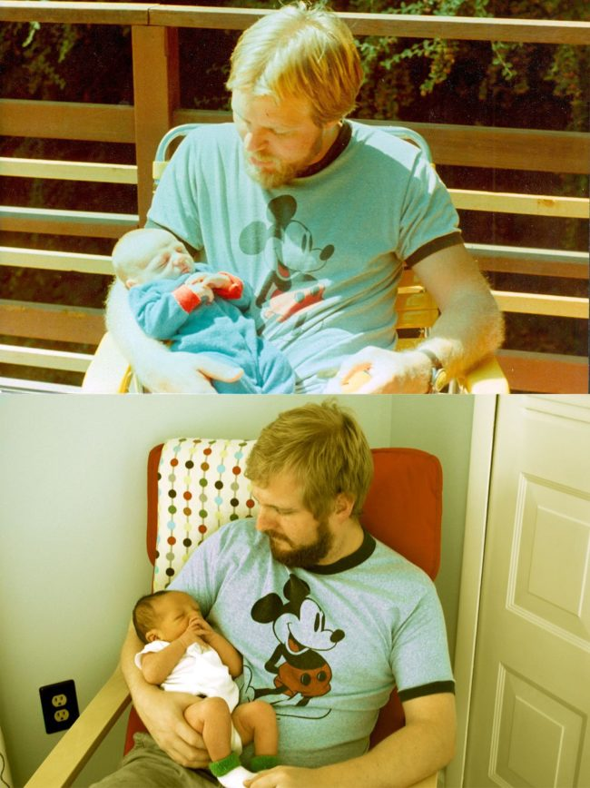 Father at 29 and 2-week-old son, compared to father at 29 and 2-week-old son.