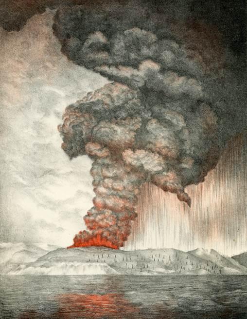 S Astmi Erupciami Pod Stpom Dymu Rchlo Rstol A Vybudoval Si 3 Krtery V Mji 1883 Zaala Aktivita Ostrova Silnie