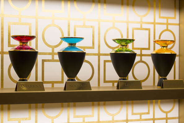 Containers of Bulgari Le Gemme perfumes sit on display inside a Bulgari SpA boutique, a luxury unit of LVMH Moet Hennessy Louis Vuitton SA, in London, U.K., on Monday, April 11, 2016. The newly restored London Bulgari boutique will open officially later this week. Photographer: Jason Alden/Bloomberg via Getty Images