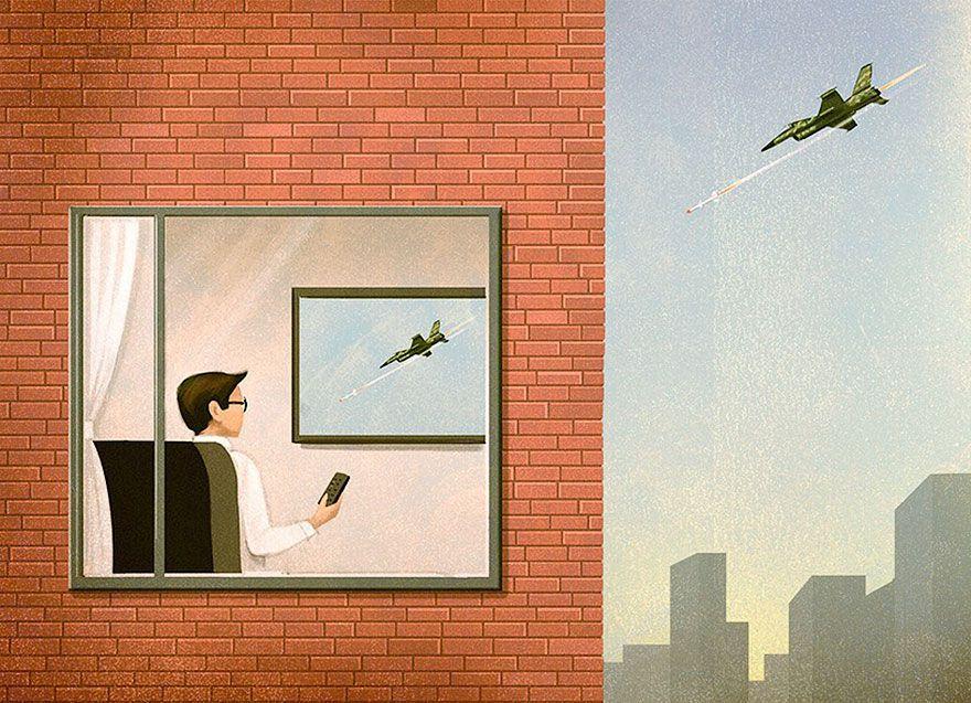Smutné svedectvo našej doby. Ilustrácie sa snažia poukázať na to, kam sa spoločnosť uberá