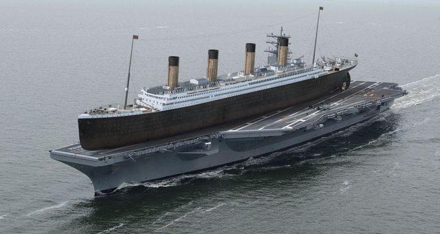 Titanic je s dĺžkou takmer 269 metrov jednou z najväčších skonštruovaných lodí na svete. Lietadlová loď U.S.S. Ronald Reagan má dĺžku takmer 333 metrov.
