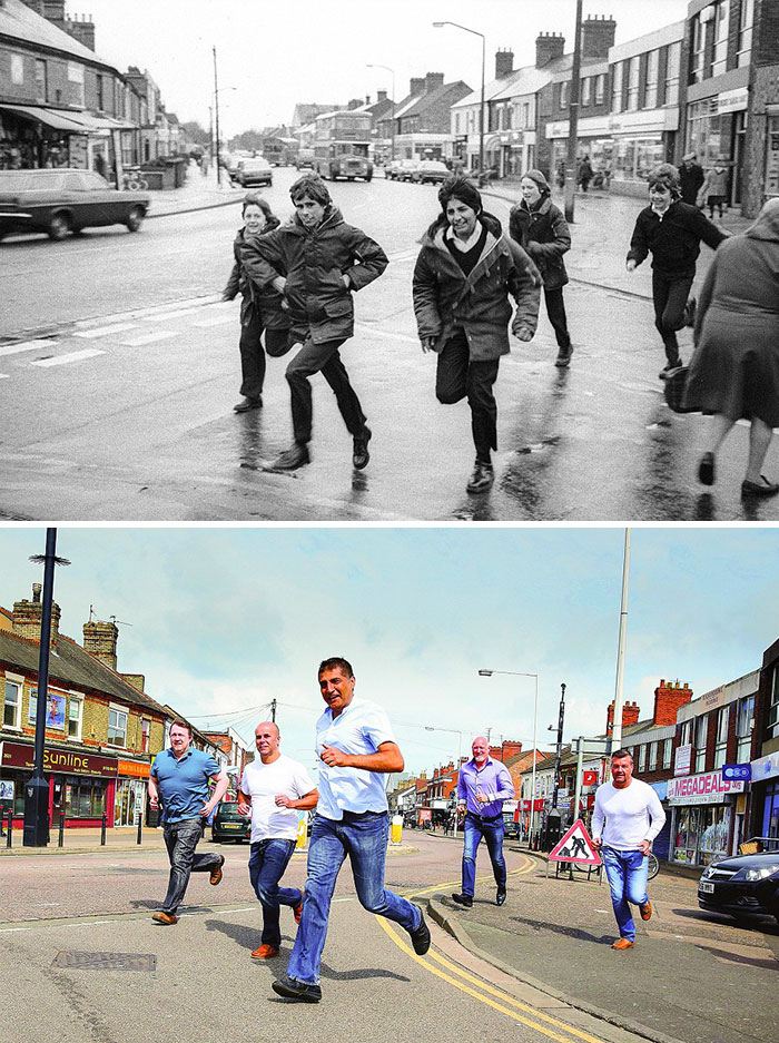 Five Boys Running (1987 And 2016)