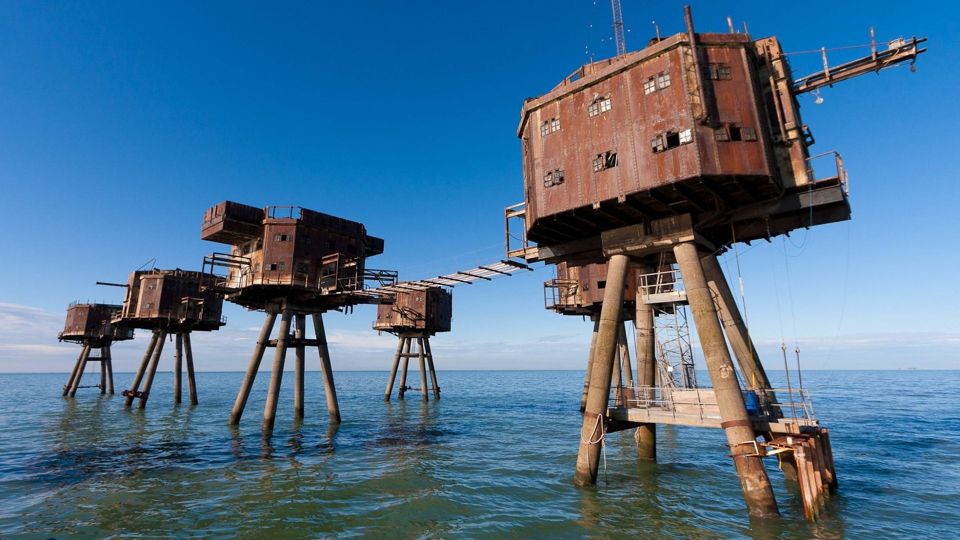 "Mandatory Credit: Photo by DaveHamilton/Bournemouth New/REX/Shutterstock (4894900h) The Maunsell Forts were small fortified towers built in the Thames and Mersey estuaries during the Second World War New book 'Wild Ruins' reveals hidden locations of ruins and forgotten relics, Britain - Jun 2015 *Full story: http://www.rexfeatures.com/nanolink/qlrx The hidden locations of hundreds of historic ruins and forgotten relics have been revealed in the first ever guide to Britain's crumbling past. Author Dave Hamilton has spent more than three years travelling the length and breadth of the country chronicling little-known and hard-to-find remains of abandoned castles, churches, settlements and industrial works. His new book 'Wild Ruins' lifts the lid on more than 250 haunting sites nationwide in a bid to reconnect people with the country's history. Explaining the inspiration behind his book, Dave said: ""What really tipped the balance was a trip to Fussell's Iron Works at Mells, near where I live. It's a sprawling Victorian ruin but it's not on any tourist maps and it made me think what else could be out there"". He adds: ""I want the book to encourage people to visit these sites to learn about and marvel in our past""."