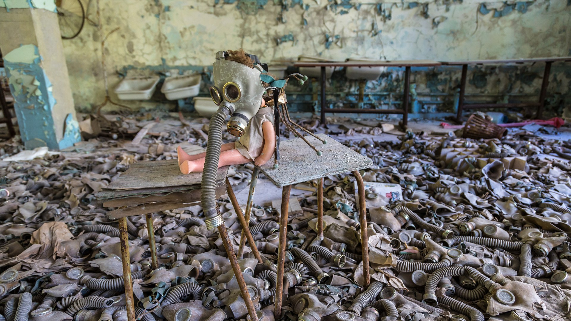 Creepy doll in middle school in Pripyat, Chernobyl region, Ukraine in a summer day; Shutterstock ID 410972197