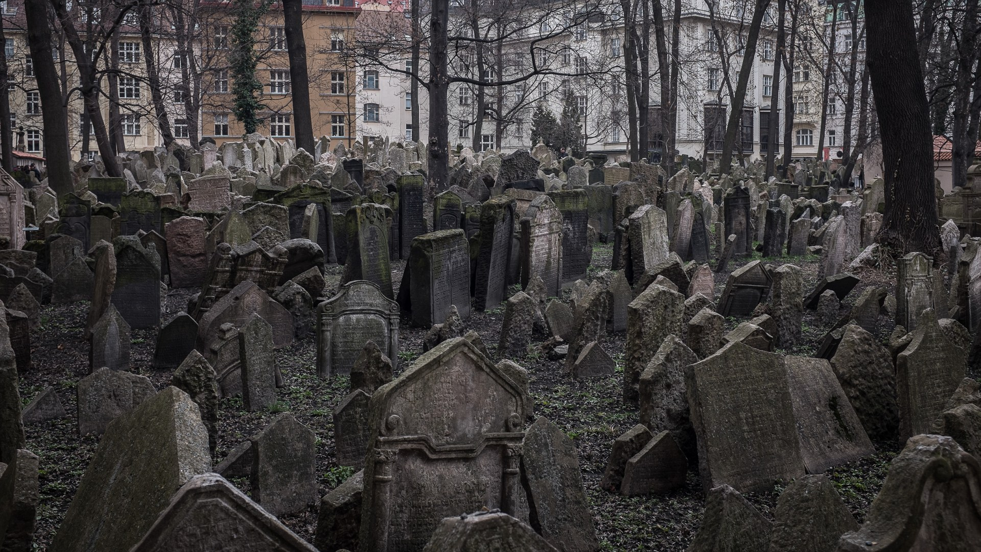 Tombstones in the Old Jewish Cemetery in Prague; Shutterstock ID 391242985