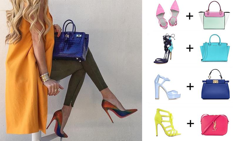 Kombinácia tašiek a topánok