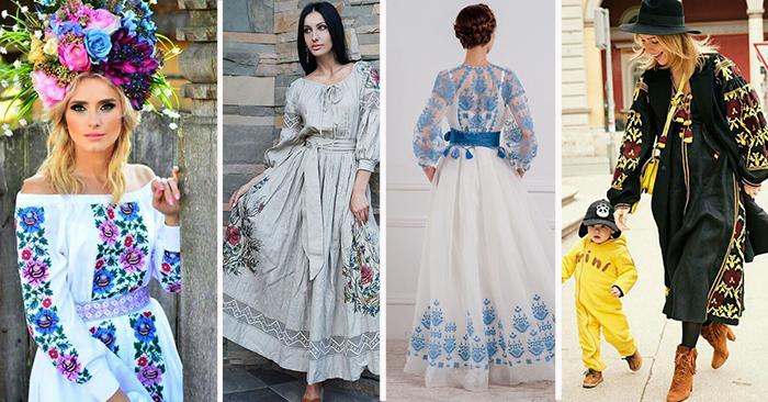 платья с вышивкой крестом